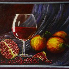 Natüürmort veini bokaaliga  33#43, lakkitud. 160 eur
