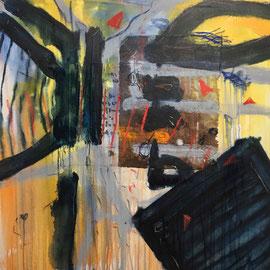 """""""Briefe"""", #1, 2018, Mischtechnik und Collage auf Leinwand, 80x80 cm"""