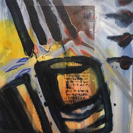 """""""Briefe"""", #3, 2018, Mischtechnik und Collage auf Leinwand, 80x80 cm"""