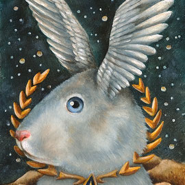 🔴 Starfleet Bunny, 2016, oil on panel, 18 x 13 cm (7 x 5 in)