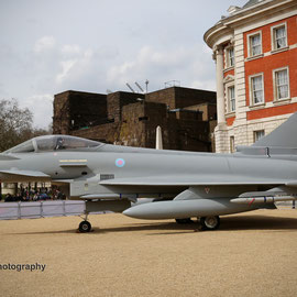 98th anniversary of the foundation of the Royal Air Force. A Typhoon aircraft stationed on Horse Guards Parade. 1/4/2016