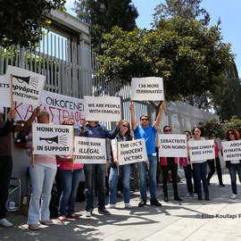 Current and former staff of FBME Bank (Cyprus branch) renew strike action outside the Central Bank of Cyprus building