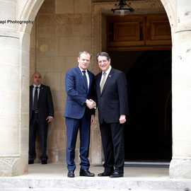 Meeting of the President of the Republic of Cyprus Mr. Nicos  Anastasiades with the President of the European Council Mr. Donald Tusk. 15/3/16