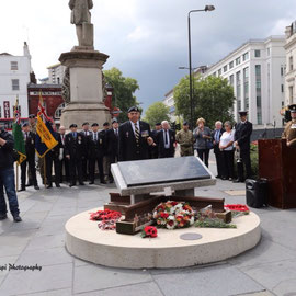 Veterans, relatives and friends at the memorial in Mornington Cresent. August 15th 2014