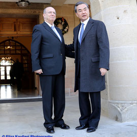 The Minister of Foreign Affairs of the Republic of Cyprus, Mr. Ioannis Kasoulides receives the Minister of Foreign Affairs of the People's Republic of China, Mr. Wang Yi. 21 December 2015