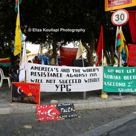 Supporters of the Kurdish Democratic Union Party (PYD Cyprus Branch) outside the House of Representatives in Nicosia. September 13th 2014