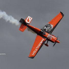 French pilot Nicolas Ivanoff with his orange raceplane. August 15th 2015