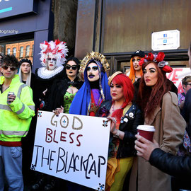 Protestors demanding the reopening of the Black Cap. April 2015