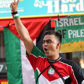 """Free Palestine - Boycott Marks & Spencer"". Oxford street, August  7th 2014"