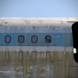 An abandoned Cyprus Airways airliner in the empty.