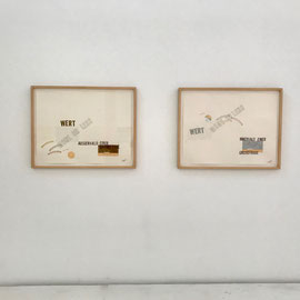 Lawrence Weiner, CAVEAT ACTOR / CAVEAT EMPTOR, 1996, drawings, mixed media, cuts, collage, pen, pencil, © Lawrence Weiner.