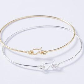 Bracelet jonc fil argent ou doré - bijoux fins -Céline Flageul