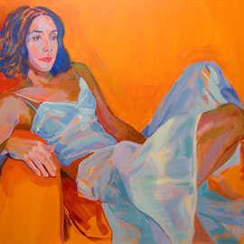 Mujer vestida de blanco. 100 x 81 cm. Acrílico sobre lienzo. *
