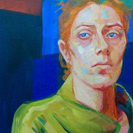 Mujer enferma. Detalle. Acrílico sobre lienzo.