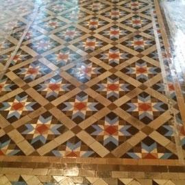 resultado de reparación, pulido y abrillantado mosaico nolla