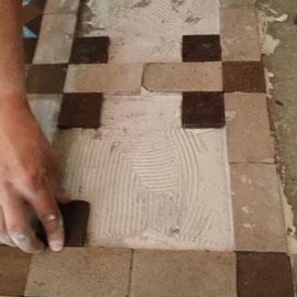 colocación piezas mosaico nolla