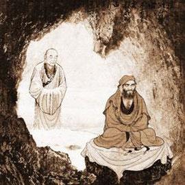 Damo en méditation durant neuf ans dans une grotte à Shaolin.