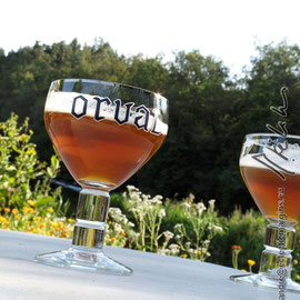 Tasting the beer Orval at the mill Willaime, just at the waterside of the Semois
