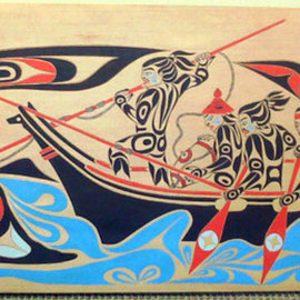 """Makah Whale Hunt"" Red cedar, Acrylic paint, Abalone shell"