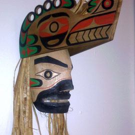 """Wolf Dance Mask"" Red cedar, Red cedar bark, Acrylic paint, Sinew"