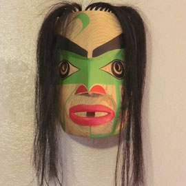 """Kweti Mask"" Red cedar, Horse hair, Acrylic paint, Sinew"
