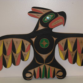 """Thunderbird"" Red cedar, Acrylic paint, Abalone shell"