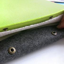 grünes Modell geöffnet / weißes Abstandsgewirk für verbessertes Mirkoklima