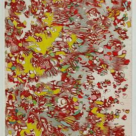 Kristin Finsterbusch, egal, einfach hoch - 2, Tiefdruck, vernis mou, Aquarell, 2008, 40x20 cm
