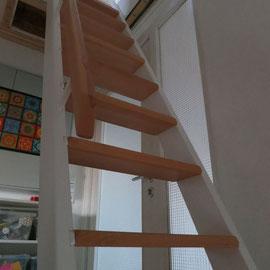 Weiss lackierte Wangen und Stufen aus Eiche.