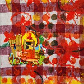 colorado1  18 cm x 18 cm  mixed media auf Tischtuch