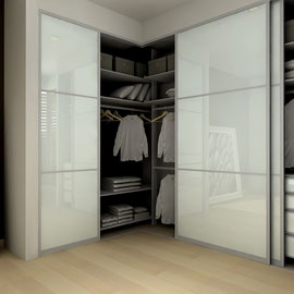 modern closets, closet doors and shelving, white glass and metal