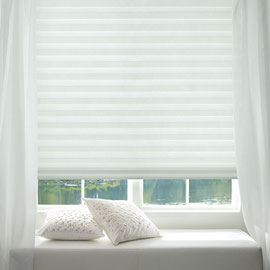 Hunter Douglas window treatment with white sheers