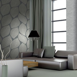 Italian wallpaper with light gray and dark gray textured leaf pattern