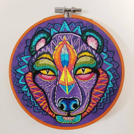 Fossa, Hand Embroidery, 5.5 inches across, 2017. (Available through the my Art Store)