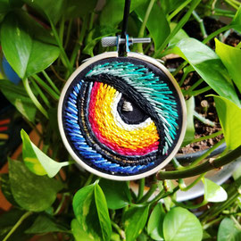 Owl Eye, Hand Embroidery, 3 inches across, 2017. (Sold)