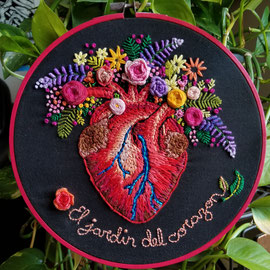 El Jardin del Corazon, Hand Embroidery, 8 inches across, 2017  (Sold)