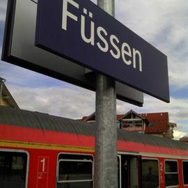 Der Bahnhof in Füssen - Startpunkt des DEUTSCHLANDWEG