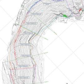 Completamento consolidamento costone roccioso collina Monserrato in Modica - Planimetria degli interventi