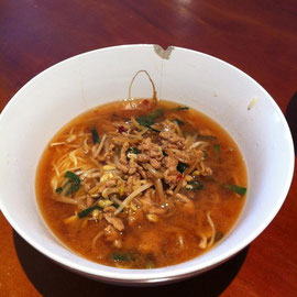 ピリ辛もやし坦々麺(?)だ!! 激うま。 スープまで一気に飲んだじょー。