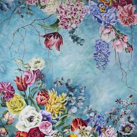 Blumenmeer - 100x80x4cm    Acryl auf Leinwand