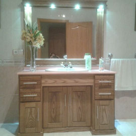 MUEBLE BAÑO MADERA Y LUCES LED