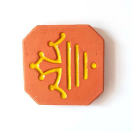 Nouveau magnet logo Région Occitanie diamètre 5 cm logo émaillé jaune