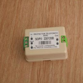 Protector para linea telefonica SOP tipo bornera para cable con polo a tierra