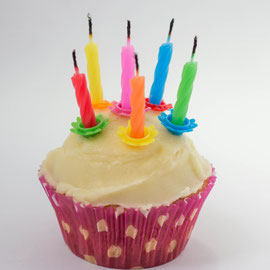 Muffin mit abgebrannten Kerzen - Geburtstagsküchlein