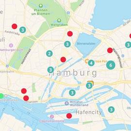 Screenshot Too Good to Go - Übersicht Anlaufstellen Hamburg (Beispiel)