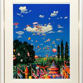 ヒロ・ヤマガタ シルクスクリーン1995年『スカイフェスティバル』98000円