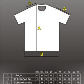 Maßtabelle T-Shirts