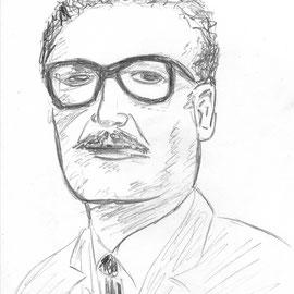 5-Minuten-Potrait Salvador Allende für einen Spanischvortrag, 2016, Bleistift