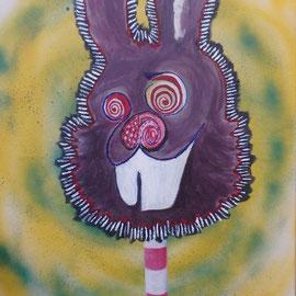 'Häschen am Stiel', 2017, Acryl auf Leinwand