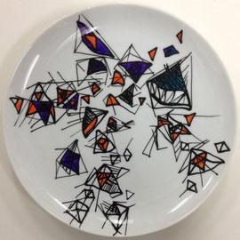 >>o. T.<<, Painiting on Porcelain, 20 cm diameter, 2015